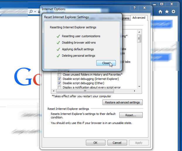 Close-button-Reset Adposhel Adware Virus borttagning