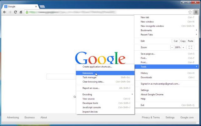 Google-Chrome-extensions Como eliminar Search.packageintransit.com