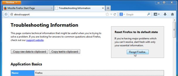 Reset-Firefox borttagning Pirvatesearch Extension
