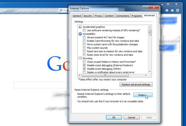 Reset-Internet-Explorer Jak odstranit Pirvatesearch Extension
