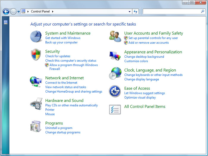 control-panel Win32 Sality Virus fjerning